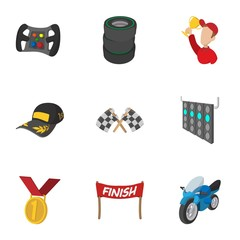 Racing and competition icons set, cartoon style