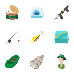 Angling icons set, cartoon style