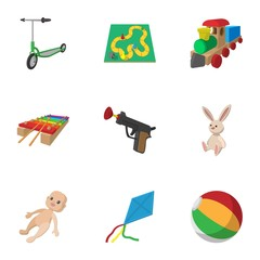 Toys kid icons set, cartoon style