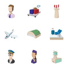 Check at airport icons set, cartoon style