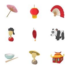 China Republic icons set, cartoon style