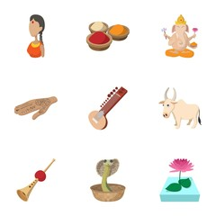 India Republic icons set, cartoon style