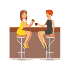Happy Best Friends Catching Up In bar , Part Of Friendship Illustration Series