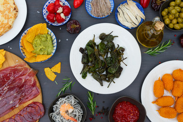 Table with spanish tapas - green grilled padron peppers, jamon, croquetes, guacamole and olives, top view, picnic table