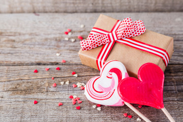 Present for Valentine's day with heart shaped sweets