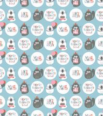 Birthday Cats Seamless Pattern