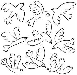 Doodle vector cute flying birds icon set