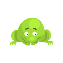 Upset Green Frog Funny Character Childish Cartoon Illustration