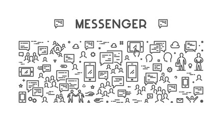 Vector line web concept for messenger