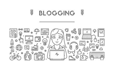 Vector line web concept for blogging
