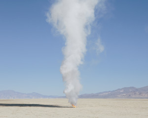 Smoke and flames in Black Rock Desert, Nevada, USA