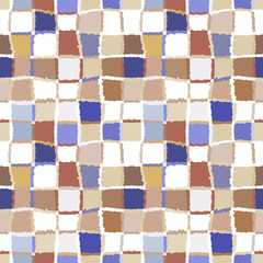 Seamless geometric mosaic checked pattern. Background of woven rectangles and squares. Patchwork, ceramic, tile texture. Gray, beige, blue colors. Vector