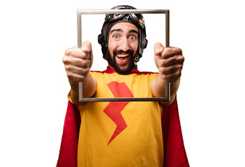 crazy super hero with frame