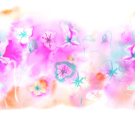 Spring seamless border with watercolor flowers