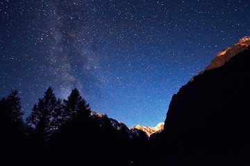 Night sky in the mountains. Milky way. Millions of stars overhead. Journey through the Altai mountains
