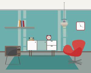 Modern interior Vector. Home decoration design of a living room for web site, print, poster, presentation, info-graphic. Flat design illustration