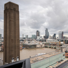 Tate Modern chimney, The City of London and the River Thames
