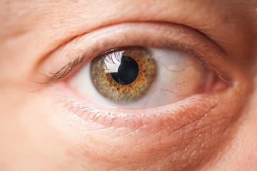Close-up macro of man eye. selective focus