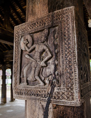 Famous ancient wood carvings at Embekke Temple near Kandy Sri Lanka