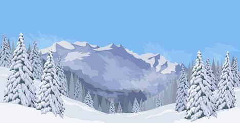 Winter mountain landscape fir snow vacation background blue sky vector