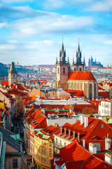 Foto op Textielframe Praag High spires towers of Tyn church in Prague city
