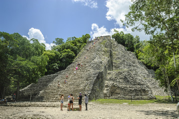 sight of the pyramid in ruins known like Nohoch Mul in the Mayan archaeological place of Coba, in Qintana Roo, Mexico