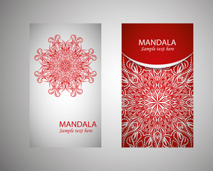 Set of banners with ethnic ornaments and patterns of the mandala. Vector decorative card or invitation design. Islam, Arabic, Indian, Turkish. Antiques, paintings, jewelry. Easy to use and edit