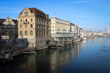 Rhein river embankment, Basel, Switzerland
