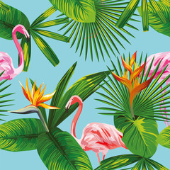 pink flamingo tropical leaves and flowers seamless blue backgrou