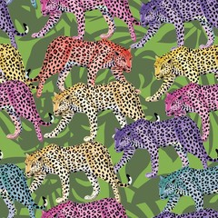 multicolor leopard pattern seamless green leaves background