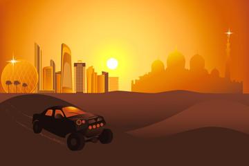 Safari cars in the desert near Abu-Dhabi city