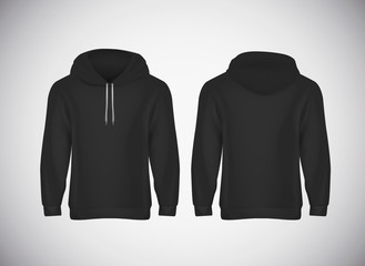 Men black hoody. Realistic mockup. Long sleeve hoody template on