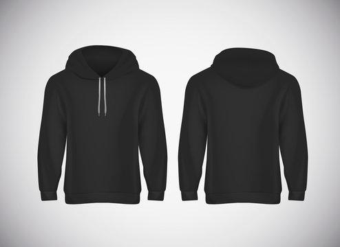 Men black hoody. Realistic mockup. Long sleeve hoody template on