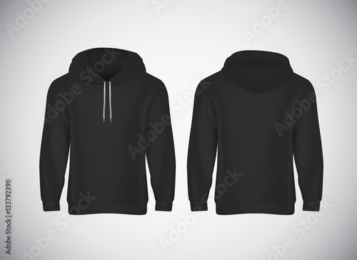 Men black hoody. Realistic mockup. Long sleeve hoody template on ...