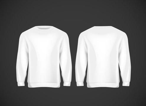 Men white hoody. Realistic mockup. Long sleeve hoody template on