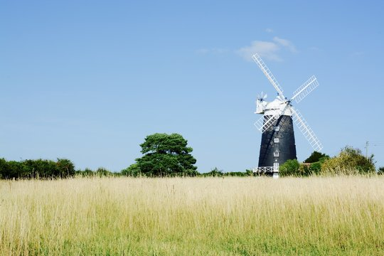The tower Windmill, built in 1816 was used as a corn ill until damaged by a storm, Norfolk, UK