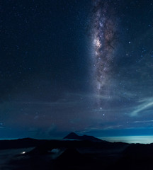 Vertical Milky way galaxy over Mout. Bromo, Indonesia