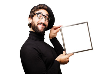 young french artist with frame