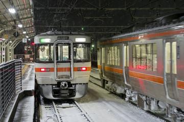 大垣駅・雪の夜