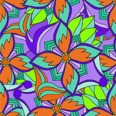 Abstract background of geometrical patterns drawing orange