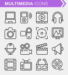 Set of pixel perfect multimedia icons for mobile apps and web design.
