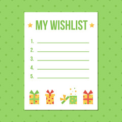 Flat design wish list with colorful gift boxes on polka dot green background.