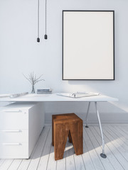 Simple modern writing table and picture frame