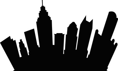 A cartoon skyline silhouette of the city of Detroit, Michigan, USA.