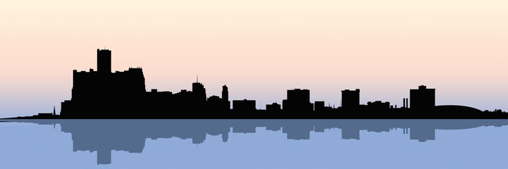 A skyline silhouette of the downtown of the city of Detroit, Michigan, USA.