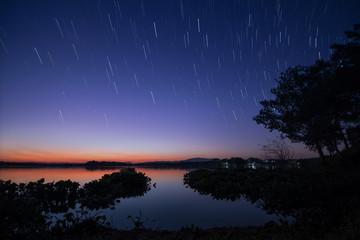 Startail over the lake ,beautiful night landscape.