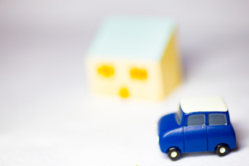 Car and cityscapes, houses and people
