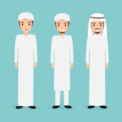 Group of beautiful muslim man and arab man character. vector people flat design.