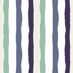 Seamless strip pattern. Vertical lines with torn paper effect. Shred edge background. Light, dark, contrast, gray, green, white colored. Winter theme. Vector