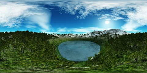 environment map ,HDRI. Round panorama, spherical panorama, equidistant projection, land under heaven